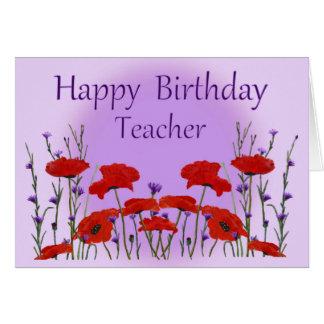 Cartão Professor do feliz aniversario, campo das papoilas
