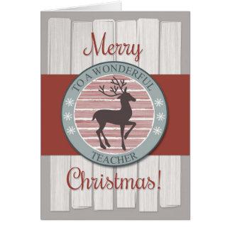 Cartão Professor do Feliz Natal com rena rústica