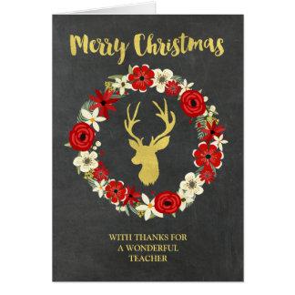 Cartão Professor do Natal da grinalda dos cervos do ouro