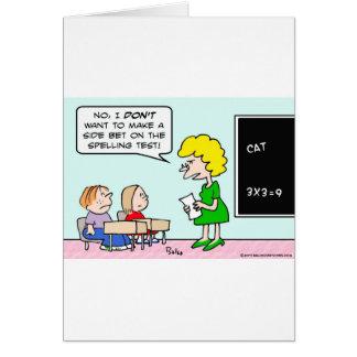 Cartão professor do teste da soletração da aposta lateral