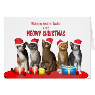 Cartão Professor, gatos em chapéus do Natal