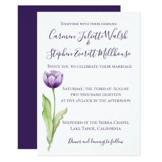 Cartão Profundo minimalista - casamento da tulipa do roxo