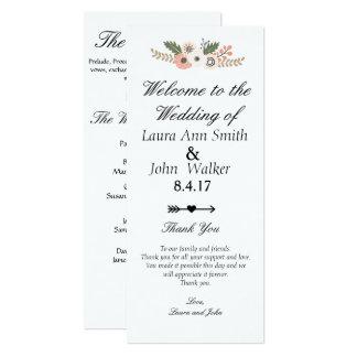 Cartão Programa chique clássico do casamento