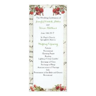 Cartão Programa cor-de-rosa do casamento do vintage