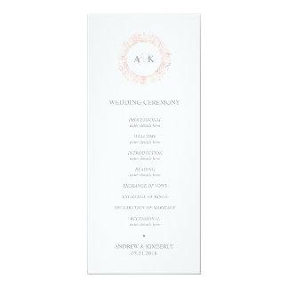 Cartão Programa cor-de-rosa elegante do casamento do