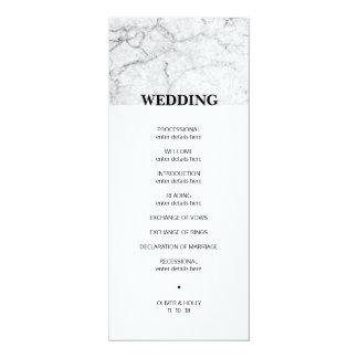Cartão Programa de mármore moderno do casamento
