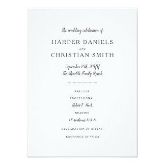 Cartão Programa do casamento de Everly