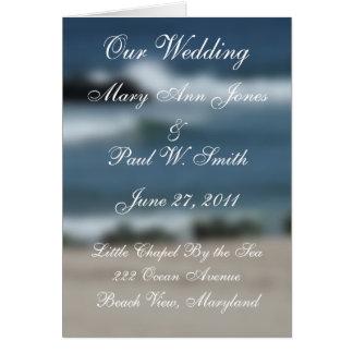 Cartão Programa do casamento do azul de oceano