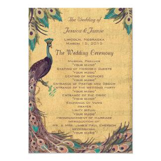 Cartão Programa do casamento do pavão do vintage do Aqua