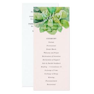 Cartão Programa do casamento do Succulent do deserto -