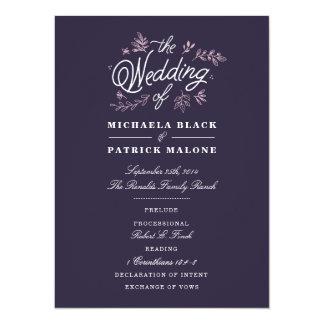Cartão Programa do casamento do Wildflower