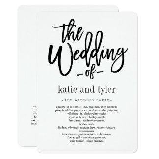 Cartão Programa escovado da cerimónia de casamento do