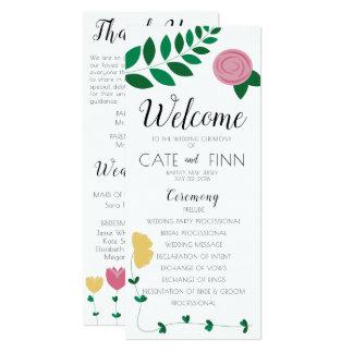 Cartão Programa floral da cerimónia de casamento de