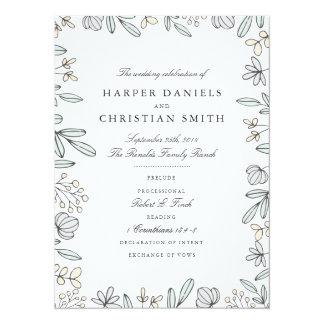 Cartão Programa floral delicado do casamento