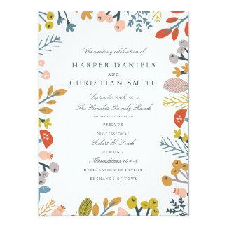 Cartão Programa floral do casamento do outono