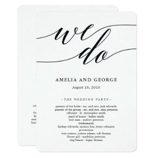 Cartão Programa moderno da cerimónia de casamento do