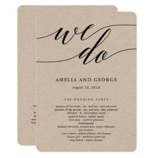 Cartão Programa moderno Kraft da cerimónia de casamento