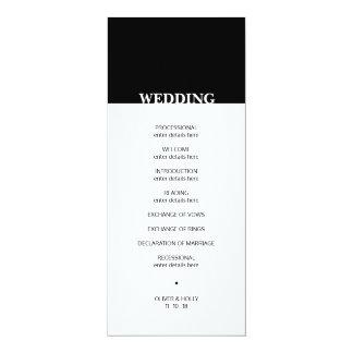 Cartão Programa preto e branco simples do casamento