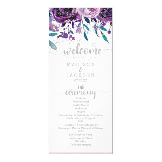 Cartão Programa roxo chique do casamento floral & de