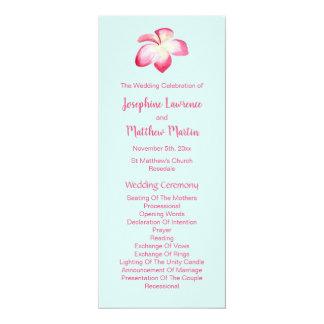 Cartão Programas tropicais do casamento do Plumeria