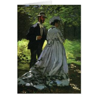 Cartão Promenaders por Claude Monet, impressionismo do