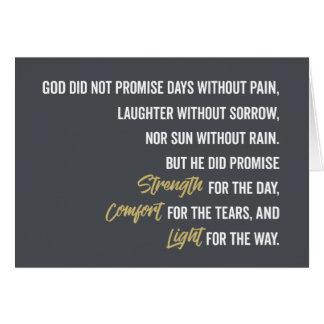Cartão Promessa do conforto e da luz da força
