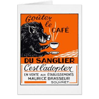 Cartão Propaganda belga antiga do varrão do café
