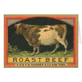 Cartão Propaganda da carne assada do vintage