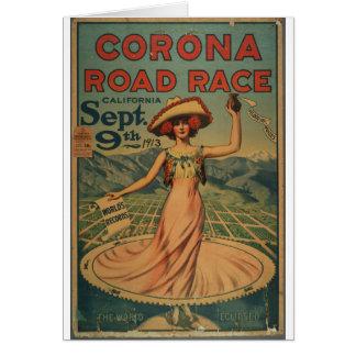 Cartão Propaganda da competição automóvel da corona