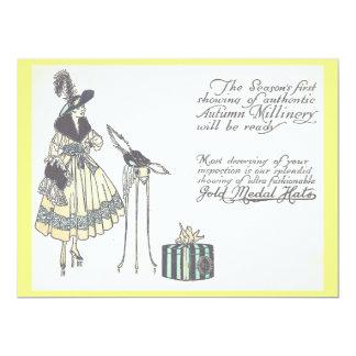 Cartão Propaganda da mostra do Millinery do chapéu do