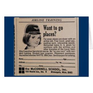 Cartão Propaganda do Stewardess do vintage