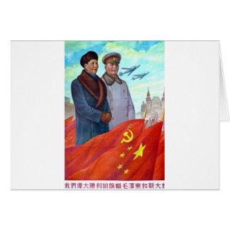 Cartão Propaganda original Mao Zedong e Josef Stalin