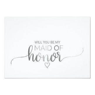 Cartão Proposta de prata simples da madrinha de casamento