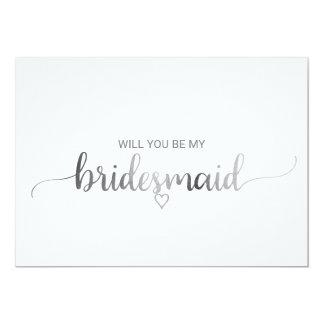 Cartão Proposta simples da dama de honra da caligrafia da