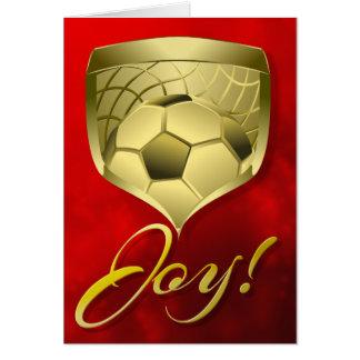 Cartão Protetor do ouro do futebol com alegria da palavra