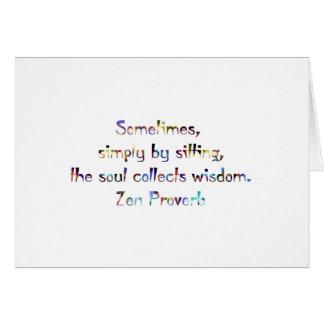 Cartão Provérbio-Ioga/meditação do zen