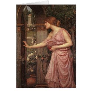 Cartão Psique que abre a porta no jardim do Cupido
