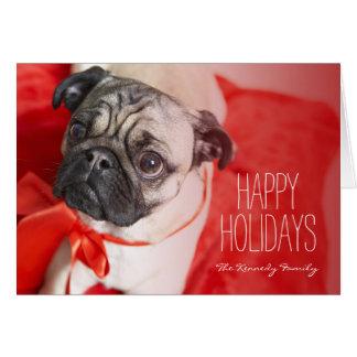 Cartão Pug com fita vermelha