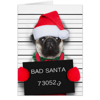 Cartão Pug do Natal - cão do mugshot - pug do papai noel