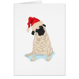 Cartão Pug do Natal do chapéu do papai noel