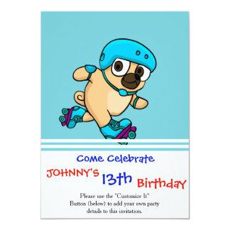 Cartão Pug dos desenhos animados em rollerblades