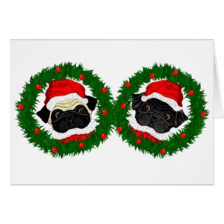 Cartão Pug preto, Pug Santa da jovem corça