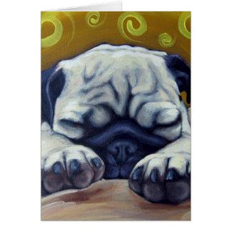 Cartão Pug sonolento