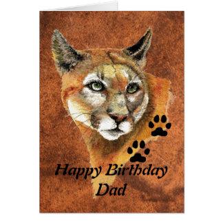 Cartão Puma do pai do aniversário, puma, animal do leão