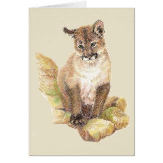 Cartão Puma do puma da aguarela, vazio do leão de