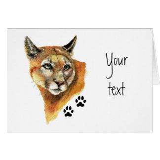 Cartão Puma, puma, trilhas do animal do leão de montanha