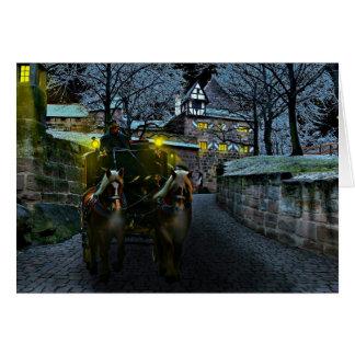 Cartão puxado a cavalo da meia-noite da carruagem