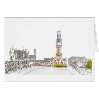 Cartão Quadrado do Burg. Bruges Bélgica