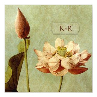 Cartão Quadrado do casamento vintage de Etude de Fleurs