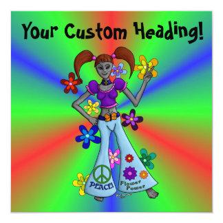 Cartão Quadrado estrangeiro do hippy